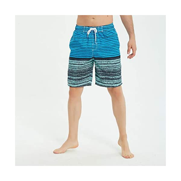 KAILUA SURF Mens Swim Trunks Long, Quick Dry Mens Boardshorts, 9 Inches Inseam Mens Bathing Suits with Mesh Lining (Blue Stripes, S)
