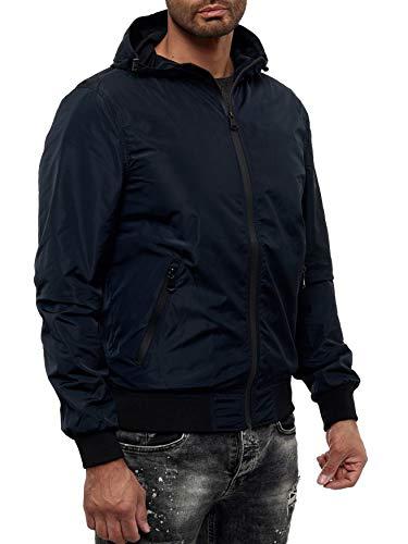 EGOMAXX Herren Basic Übergangsjacke College Blouson mit Kapuze Regen Bomber Jacke, Farben:Navy, Größe Jacken:S
