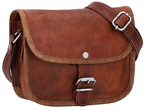 Gusti Umhängetasche Damen Leder - Mary XS Ledertasche Handtasche Damen Vintage Braun
