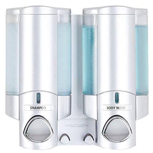 BETEC 66234 Seifenspender und Hygienespender Aviva II Satin (Chrom -matt) mit 2 Kammern - Wandmontage
