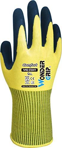Wonder Grip WG-310HY Comfort - Arbeitshandschuh mit einfacher Latexbeschichtung, Handschuh, Latex, Grip, Anti-Rutsch Schutzhandschuh; XXL / 11 gelb