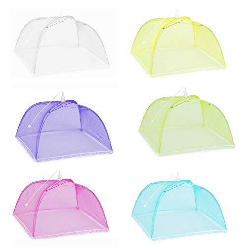 Winknowl - Juego de 6 carpas de malla de colores para alimentos, reutilizables y plegables, tamaño grande, 43 cm, para barbacoa, picnic, fiestas, al aire libre