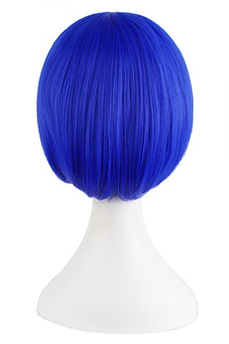 MapofBeauty Fashion Girl Natural Short Straight Wigs Diagonal Bangs Wigs-Navy Blue-Ladies