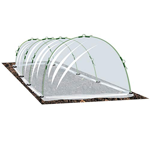 Growsun Garden Tunnel Plant Cover w/Arch Shape Poly Vegetable Greenhouse Hoops PE Film Tunnels Outdoor Growing Garden Staples Include, Clips Updated