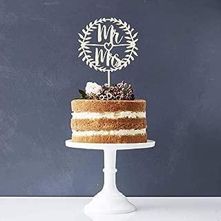 Mr Mrs Wood Wreath Cake Topper Birthday Cake Topper, Wedding Reception,Wedding Cake Decoration (Wreath)