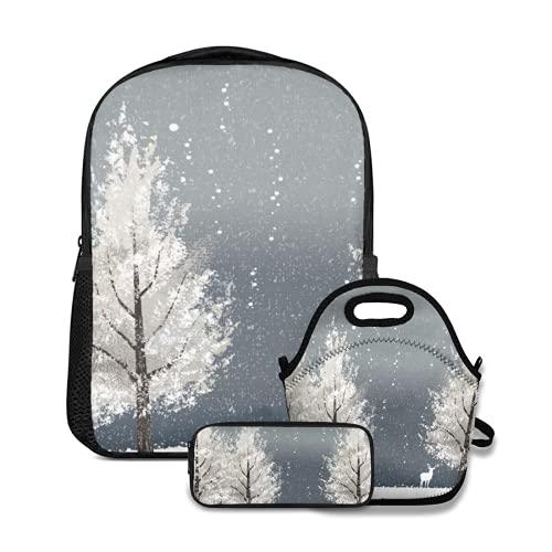 Conjunto de mochila escolar,Invierno por la noche con árboles blancos y renos El archivo contiene un clip,con bolsa de almuerzo y estuche para lápices para mochila para adolescentes