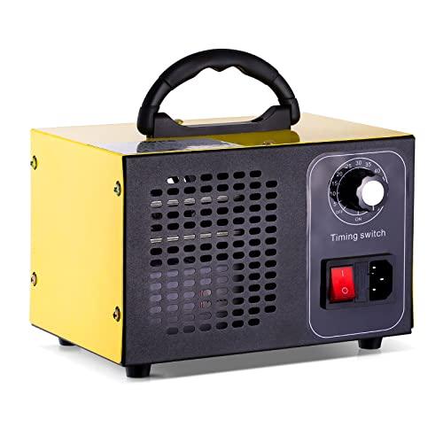 ATWFS Industrial Generador de Ozono, 48.000 mg / h 60.000 mg / h Desodorizador de Ozono con Temporizador de 60 Minutos, Limpia Más de 300㎡ (Amarillo, 60000mg/H)