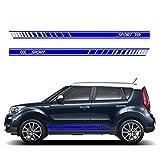 Suitable for KIA Soul ABS Plastic Car Sport Stripes Door Panel Decal Car Body Sticker Side Stripe Decal Hood Decal Sticker 20311cm Blue