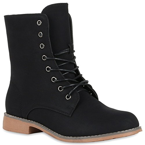 Damen Schnürstiefeletten Boots Camouflage Stiefeletten Leder-Optik Schnür Übergrößen Schuhe 119315 Schwarz Brooklyn 38 Flandell
