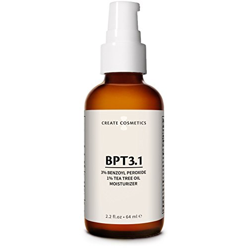 BPT3 Acne Treatment Moisturizer | 3% Benzoyl Peroxide 1% Tea Tree Oil | 70% Organic 96% Natural | Gentle Plant-based Vegan & Cruelty-free | US Made 2.2 fl. oz