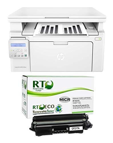 Renewable Toner M130nw Check Printer Bundle with 1 RT HP CF217A 17A MICR Compatible Toner Cartridge