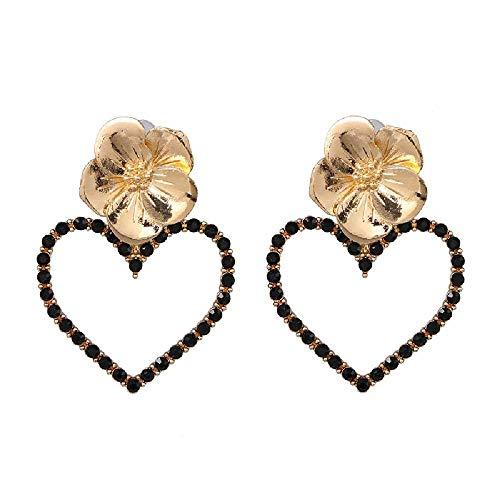 FANGGAN Pendientes Mujer ,Pendientes De Mujer, Pendientes De Aleación De Flores En Forma De Corazón, Pendientes De Mujer Con Pendientes De Perlas