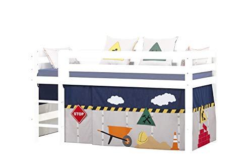 Hoppekids Construction - Cortinas de algodón para Cama de Media Altura, 90 x 200 cm