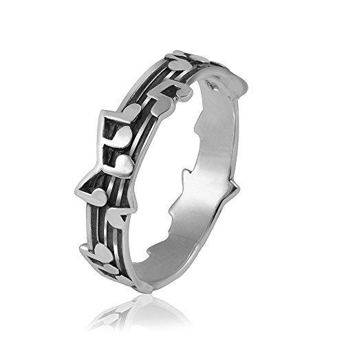 MATERIA 925 Silber Ring Noten Musik #SR-62, Ringgrößen:54 (17.2 mm Ø)