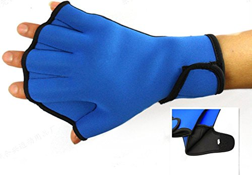 Dooki, Wasserdicht Neopren Webbed Handschuhe Schwimmen Aqua Fit Trainingsübung Flippers Paddel Schwimmhandschuhe, Blau (Klein)