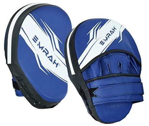 EMRAH Box-Pads, MMA, Schlaghandschuhe, Muay Thai, Training | Pro Grip Skin Leder mit verstellbarem Riemen | Kampfsport-Haken und Jab Schlagziel, Handschutz (matt-blau)