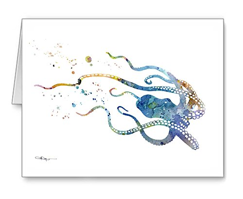 Blue Octopus - Set of 10 Abstract Watercolor Animal Note Cards With Envelopes