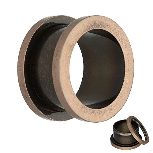 Treuheld® | 3mm Ohr Flesh Tunnel | Antik/Vintage - Roségold | Chirurgenstahl | mit Gewinde - Schraubverschluss zum Schrauben | Damen + Herren