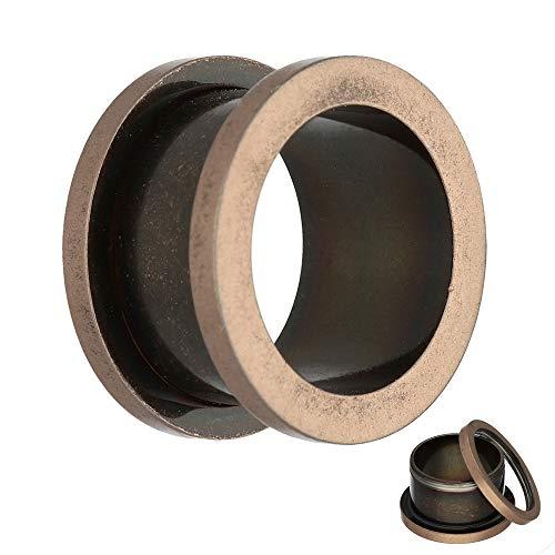 Treuheld® | 1,2mm Ohr Flesh Tunnel - kleinste Größe | Antik/Vintage - Roségold | Chirurgenstahl | mit Gewinde - Schraubverschluss zum Schrauben