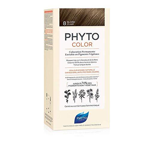 Phyto Phytocolor 8 Biondo Chiaro Colorazione Permanente senza Ammoniaca, 100 % Copertura Capelli Bianchi