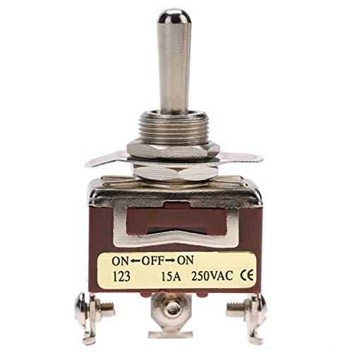 Interruptor basculante momentáneo estable de 12 mm de diámetro, tamaño mini, robusto, 250 V CA, 15 A, SPDT de 3 polos, industrial, para electrodomésticos