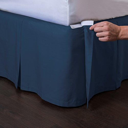 """ShopBedding Ashton Detachable Bedskirt (Twin Size, Navy, 14"""" Drop) - Easy on/Easy Off Pleated Bed Skirt"""