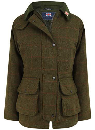 Nicky Adams Derby Wachsjacke für Damen, wasserdicht, atmungsaktiv, Teflonbeschichtung, Wollmischung, hergestellt in Großbritannien Gr. 42, Dark Sage