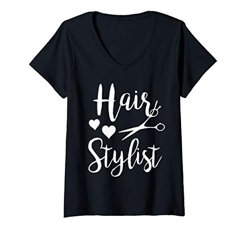 Womens Hairstylist shears cosmetology cute beautician hair V-Neck T-Shirt