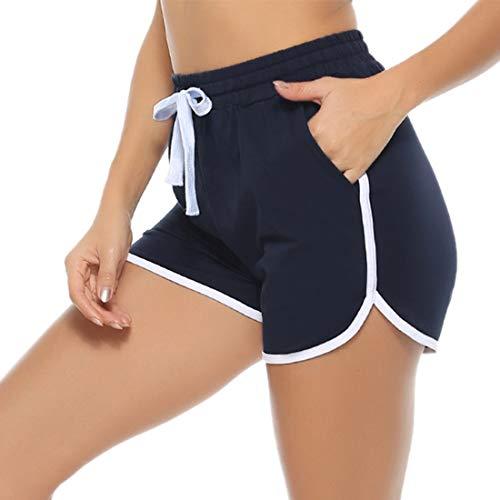 Aibrou Pantalones Cortos Deporte Mujer Verano de Algodón Pantalon Corto Deportivo para Mujer con Bolsillos para Correr Jogging