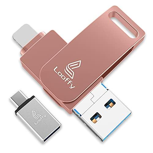 Looffy Clé USB Compatible avec iPhone Cle USB 32 Go 3.0 iOS USB Flash Drive Mémoire Stick Compatible avec iPhone Android Smartphone Tablette PC 4 in 1