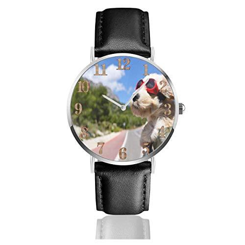 LREFON Armbanduhr West Highland White Terrier Hund Sonnenbrille Auto Langlebige PU Lederarmband Quarz Business Uhren Unisex Casual Armbanduhr