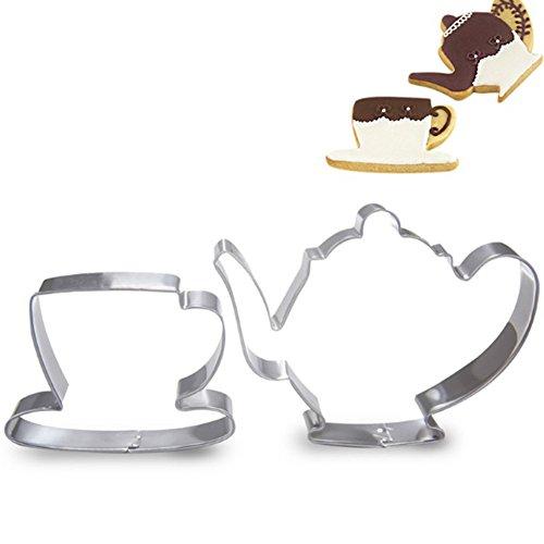 Zhouba 2 Stück Teekanne Teetasse Set Keksausstecher Edelstahl Fondant Kuchenform Werkzeug, edelstahl, silber, Einheitsgröße