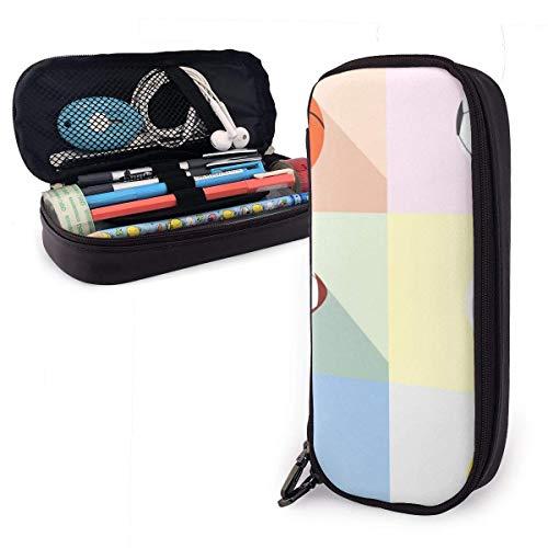 Schreibwaren Taschen,Zarte Bälle Art Icon Leder Bleistifte Beutel Mode Reiseetui Schreibtisch Organizer Tasche Lernpapier Für Die Schule,20X9X4Cm
