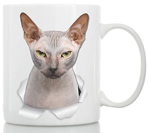 Grumpy Sphynx Cat Tasse - Kanadische Sphynx Cat Keramik Kaffeetasse - Perfektes Sphynx Cat Geschenk - Lustige Sphynx Katze Kaffeetasse für Katzenliebhaber 11oz weiß