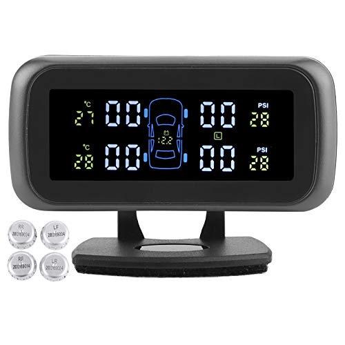 Qiilu coche TPMS inalámbrico, sistema inalámbrico de presión de neumáticos Pantalla LCD TPMS Detector de presión de neumáticos TPMS de coche con 4 sensores