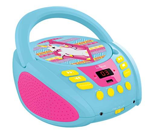 Lexibook Reproductor toma para micro (RCD108UNI) Lector de CD MP3 Unicornio Portátil para Niños, par Niña, Entrada para micrófono, AUX IN, puerto USB, AC o funciona con batería, Rosado, color azul