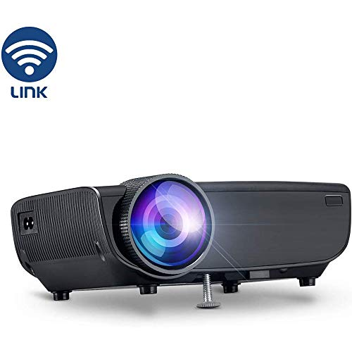 Wireless Projector, WIFI Portable Thuisbioscoop Projector 1080P Ondersteuning Speaker, WIFI Direct Verbonden Met Mobiele Telefoon Tablet En Laptop, HDMI VGA AV USB SD,Black