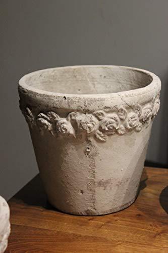 VOSS Aragon Pot de Fleurs en céramique Motif Roses Gris crème