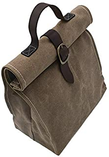 Lunch Bag | Waxed canvas | with Leather Handle | Professional or Casual.