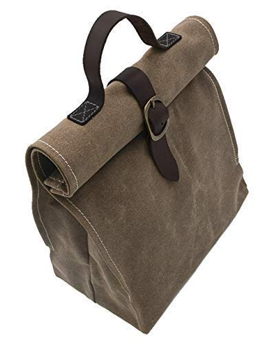 Waxed canvas lunch bag, ecofriendly, reusable, brown, for women, men, girls or boys even teens.