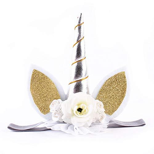 Zabats Bonita Flor elstica de Encaje, Cuerno de Unicornio, decoracin para nias, decoracin Decorativa para Fiesta de cumpleaos, Disfraz de Halloween, Juguete de Peluche, Regalo Plata 15cm