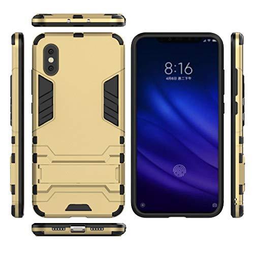 Ycloud Armadura Funda para Xiaomi Mi 8 Pro/Mi 8 Explorer Smartphone, Heavy Duty Doble Capa Híbrida Robusta Pesada Funda Antigolpes PC Duro Caso con Soporte (Dorado)