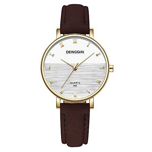 Neuer Trend Damen Armbanduhr Uhr, Frauen Damenuhr Lederarmband Uhren Ultradünn Minimalistisch Damenarmbanduhr LEEDY