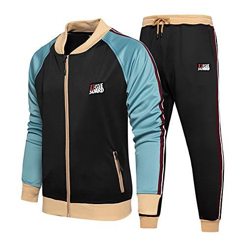 Mens Athletic 2 Piece Tracksuit Set Black
