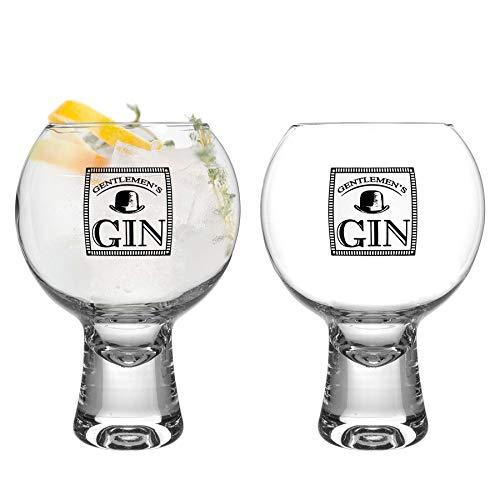 iStyle My Home Gin de 2 Piezas IKONIC señores Vasos Set - Decorado con Tallo Corto Globo español de Copa Balon Gin Tonic de Vidrio - 540ml