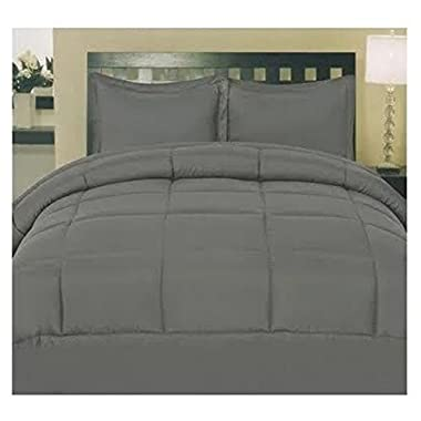 ComfortLiving Down Alternative 8 Piece Embossed Comforter Set - Grey (Queen)