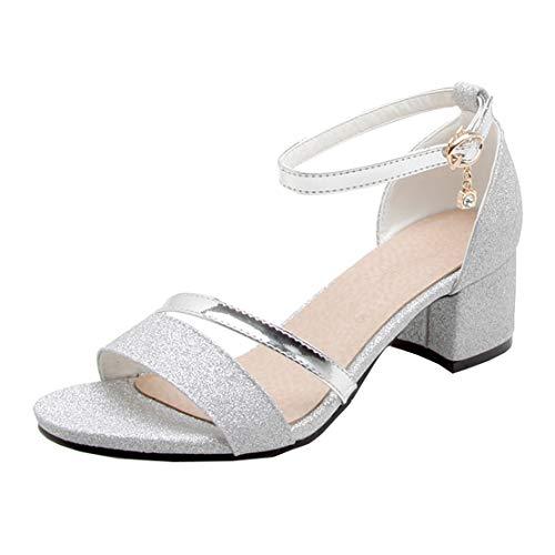 MISSUIT Damen Riemchensandaletten Glitzer Sandaletten mit Blockabsatz 5cm Absatz Open Toe Sandalen Schuhe(Silber,41)