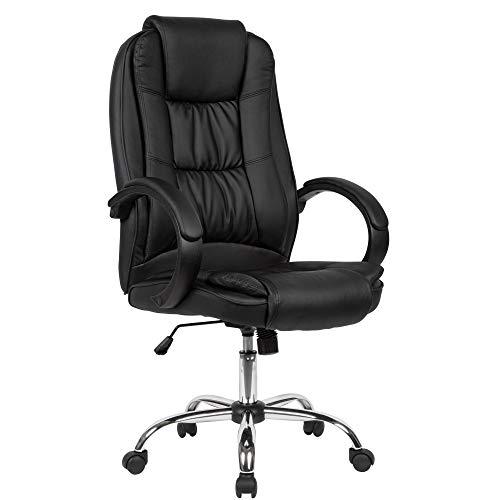 AMSTYLE Schreibtischstuhl Bezug Kunstleder Schwarz Bürodrehstuhl bis 120 kg | Drehstuhl Höhenverstellbar | Design Bürosessel mit Armlehnen & hoher Rückenlehne