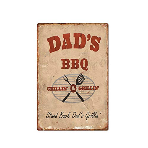 nanjingjin Vintage Tin Sign Dad's BBQ, Grill House Decor, Grill Meat, BBQ Lover, Grill Decor, BBQ Zone, Brazier Retro Metal Plaque Vintage Decor Style Garage Special Gift