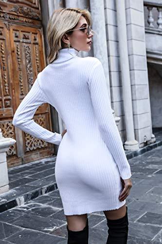 Irevial Vestido Punto Mujer Invierno, Vestido Suéter Mujer Manga Larga de Cuello Alto, Vestido Fiesta Mujer Elegante Casual Blanco-L